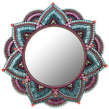 Starlight Mandala, Cotton Candy by Angie Heinrich (Mosaic Mirror)