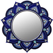 Starlight Mandala, Cobalt by Angie Heinrich (Art Glass Mirror)