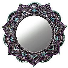 Starlight Mandala, Purple Haze by Angie Heinrich (Art Glass Mirror)