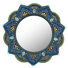 Starlight Mandala, Capri Blue by Angie Heinrich (Mosaic Mirror)