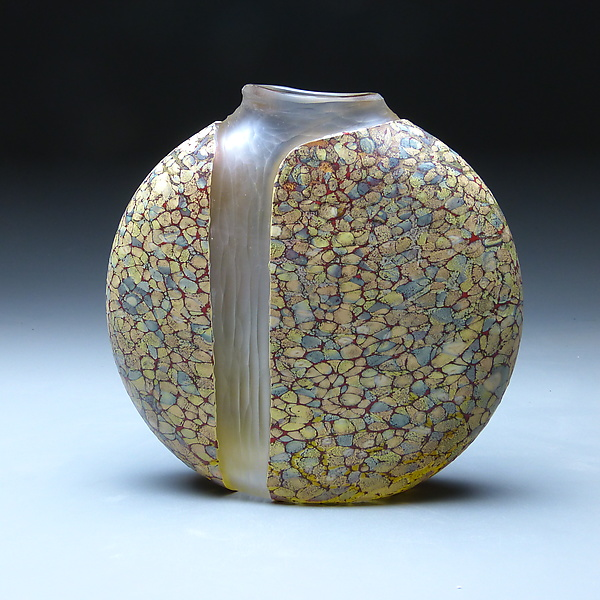 Sandy Cascade Vase with Clear Interior