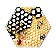 Bee-nounced by Jennifer Caldwell and Jason Chakravarty (Art Glass Wall Sculpture)