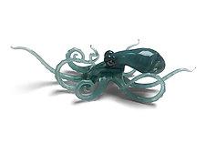 Small Aqua Octopus by Jennifer Caldwell and Jason Chakravarty (Art Glass Sculpture)