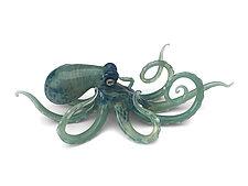 Small Seafoam Green Octopus by Jennifer Caldwell and Jason Chakravarty (Art Glass Sculpture)