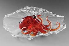 Tako Shell in Red by Jeremy Sinkus (Art Glass Sculpture)