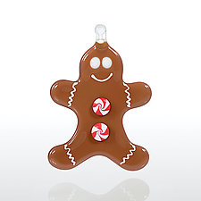 Gingerbread Fellow by Glassworks Northwest (Art Glass Ornament)