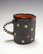 Short Red and Yellow Star Mug by Vaughan Nelson (Ceramic Mug)