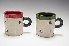 Short Christmas Tree Holiday Mug Set by Vaughan Nelson (Ceramic Mug)