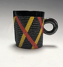 Short Diagonal Lined Mug by Vaughan Nelson (Ceramic Mug)