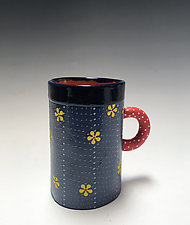 Tall Yellow Daisy Mug by Vaughan Nelson (Ceramic Mug)