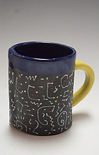 Navy Blue White Squiggle Mug by Vaughan Nelson (Ceramic Mug)