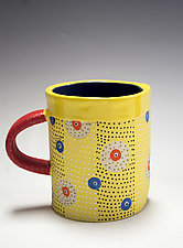 Short Yellow Circle Mug by Vaughan Nelson (Ceramic Mug)