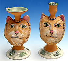 Yellow Tabby Candlesticks by Amy Goldstein-Rice (Ceramic Candleholders)
