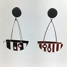 Cradle Earrings in Black and White by Arden Bardol (Polymer Clay Earrings)