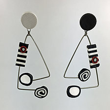 Dot-Dot Earrings in Black and White by Arden Bardol (Polymer Clay Earrings)