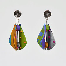 Small Wings Teardrop in Multi 2 by Arden Bardol (Polymer Clay Earrings)