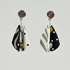 Small Wings Teardrops in Neutral Black by Arden Bardol (Polymer Clay Earrings)