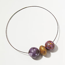 Violet and Gold Necklace by Loretta Lam (Polymer Necklace)