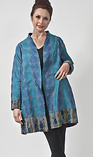 Cerulean Blue Silk Kantha Jacket by Uosis Juodvalkis  and Jacquie Rice (Cotton Jacket, Size M (10-12))