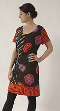 Multi-Colored A-Line Dress by Uosis Juodvalkis  and Jacquie Rice  (Cotton Dress, Size L (14-16))