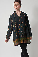 Black Cotton Kantha Jacket by Uosis Juodvalkis  and Jacquie Rice  (Silk & Cotton Jacket)