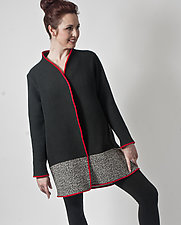 Black & Red Waffle Jacket by Uosis Juodvalkis  and Jacquie Rice (Cotton & Wool Jacket, S (8-10))