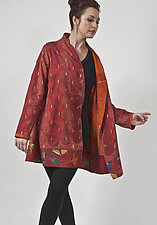 Red Kantha Silk & Wool Crepe Jacket by Uosis Juodvalkis  and Jacquie Rice  (Silk & Wool Jacket, M (10-12))