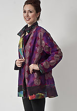 Purple Kantha Silk & Wool Crepe Jacket by Uosis Juodvalkis  and Jacquie Rice  (Silk & Wool Jacket, L)