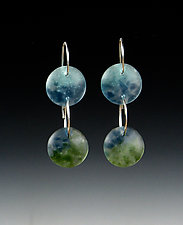 Two Drop Earrings by Carol Martin (Silver & Glass Earrings)