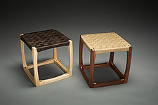 Cube Chair by Todd  Bradlee (Wood & Leather Stool)
