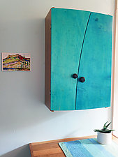 Blue Liquor Cabinet by Todd  Bradlee (Wood Cabinet)