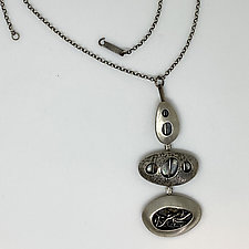 Triple Silver Hinged Pod Necklace by Beth Novak (Silver Necklace)