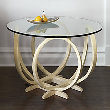 XO Bleached Maple Table by Derek Hennigar (Wood Pedestal Table)