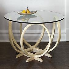 XO Bleached Maple Table by Derek Hennigar (Wood Pedestal Table)