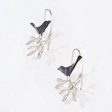 Bouquet with Sitting Bird Earrings by Lisa Cimino (Silver Earrings)
