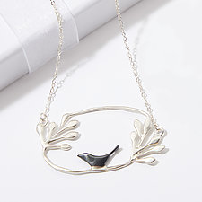 Sitting Bird with Bouquet Necklace by Lisa Cimino (Silver Necklace)