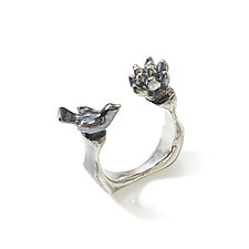 Bird and Flower Ring by Lisa  Cimino (Silver Ring)