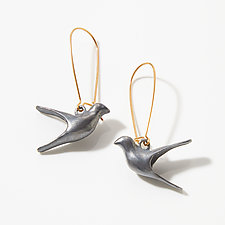 Flying Bird Dangle Earrings by Lisa  Cimino (Gold & Silver Earrings)