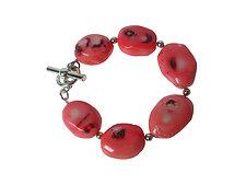 Pink Oval Coral Bracelet by Erica Zap (Silver & Stone Bracelet)