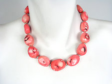 Pink Oval Coral Necklace by Erica Zap (Silver & Stone Necklace)