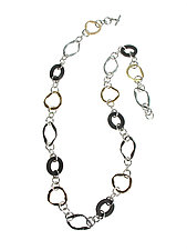 Long Hammered Metal Oval and Mesh Necklace by Erica Zap (Gold & Brass Necklace)