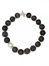 Lava Rock & Sterling Ball Necklace by Erica Zap (Silver & Stone Necklace)