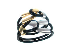Gold and Silver Double Strand Lasso Leather Bracelet Set by Erica Zap (Leather & Metal Bracelets)