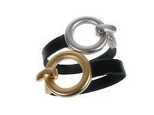 Circle Clasp Leather Bracelet Set by Erica Zap (Leather & Metal Bracelets)