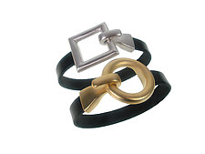 Square and Circle Clasp Leather Bracelet Set by Erica Zap (Leather & Metal Bracelets)