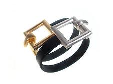 Square Clasp Leather Bracelet Set by Erica Zap (Leather & Metal Bracelets)
