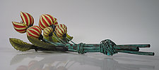 Large Table or Wall Yellow/Red Seed Pod by David Leppla (Art Glass Sculpture)
