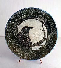 Celtic Raven by Sara Meehan (Ceramic Plate)