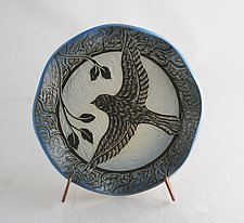 Small Sparrow plate by Sara Meehan (Ceramic Platter)