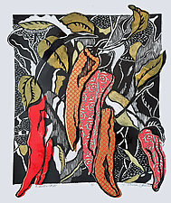 Chiles 31 by Ouida  Touchon (Woodcut Print)
